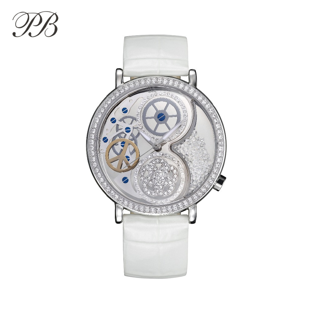 2017 Famous PB Brand Women Watch Austrian Crystal Genuine Leather Rose Flower Crystal Luxury Rhinestone Watch New Arrival Reloj new arrival famous bs brand bling diamond bracelet silver watch women luxury austrian crystal big watch rhinestone charm bangle