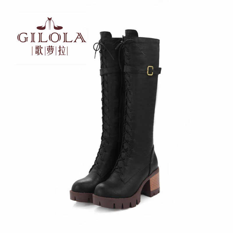 GILOLA Lace Up Women Boots Fashion Motorcycle Autumn Winter Platform Low Heels Ankle Women Shoes Woman #Y0805072F