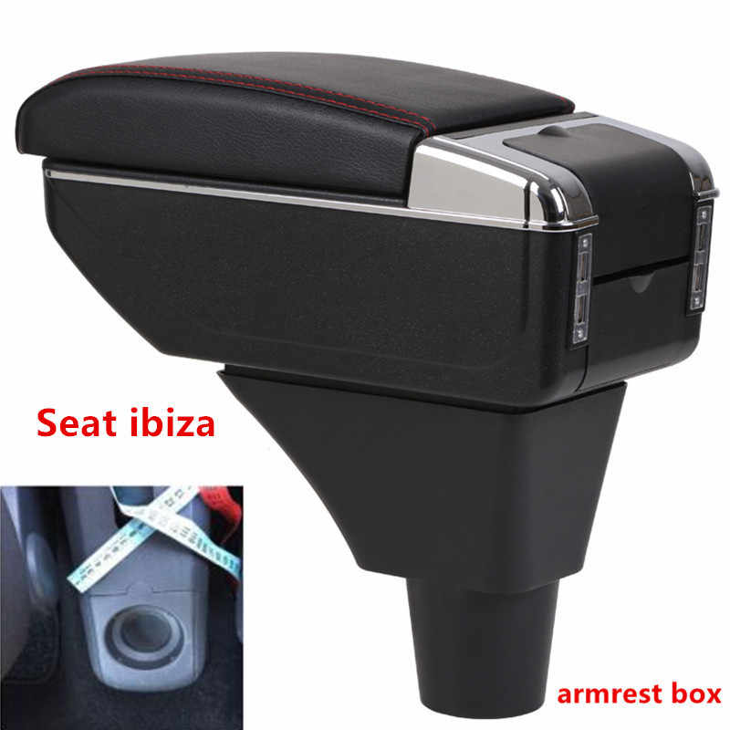 For Seat ibiza armrest box central Store content Storage box Seat armrest box with cup holder ashtray USB interface car parts