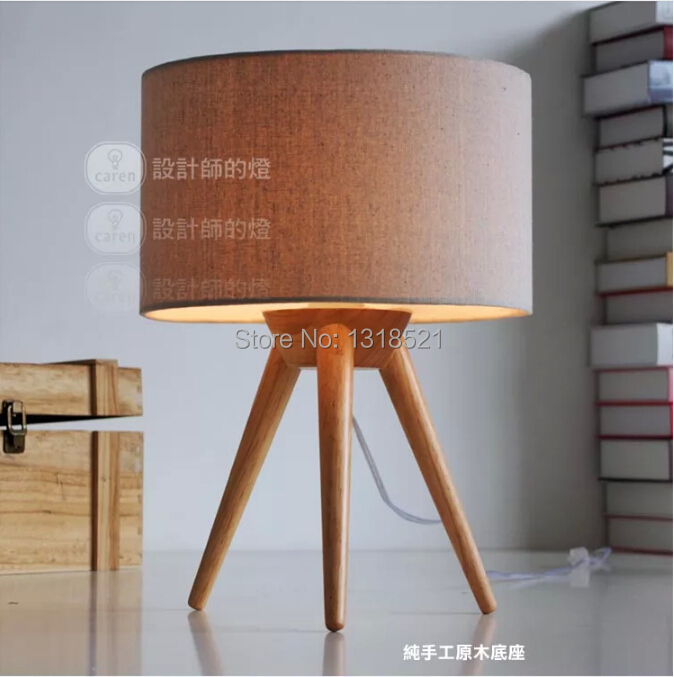 Free Shipping Tripod wood Table Light with fabric lamp shade High Quality Table Lamp Desk Light kids Room Gift opening 20 mm tripod with lamp red circle ship type switch kcd1 105 3 feet 2 file with lamp