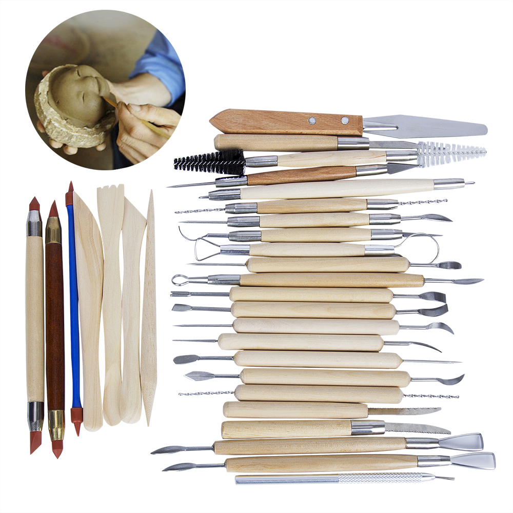 30PCS Pottery Tools Sculpting Carving Cinzel knife Tool Set Includes Clay Color Shapers Modeling Tools Wooden Sculpture Knife 30pcs set clay sculpting tools pottery carving tool set includes clay color shapers modeling tools