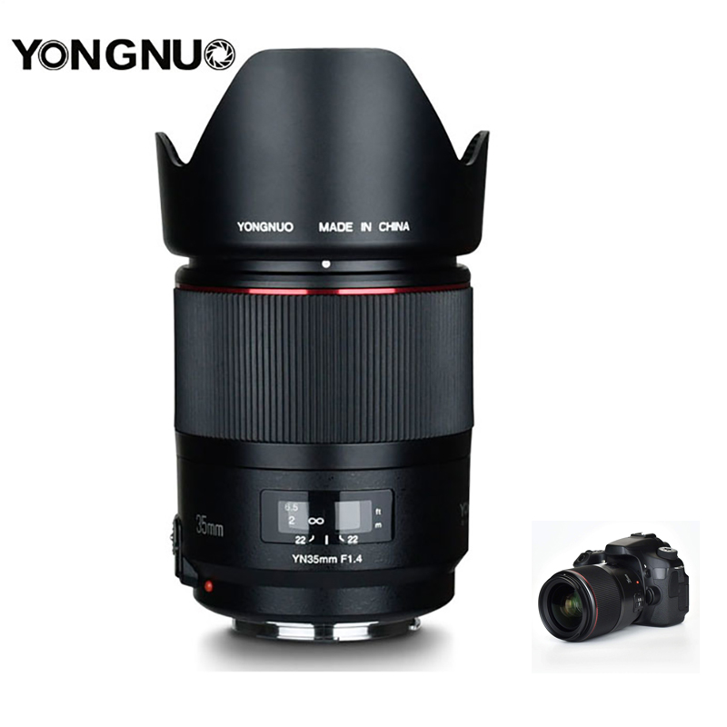 YONGNUO YN35mm F1.4 Prime Lens Full Frame Lente Grande-Angular para Câmeras DSLR da Canon 70D 80D 5D3 MARK II 5D2 5D4 600D 7D2 6D 5D