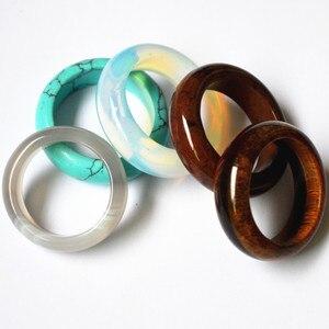 Image 5 - Nova qualidade superior quente onyx opal tiger eye moda mix cor natural pedra bandas de casamento anéis lote para mulheres 10 pçs 8mm 18 #20 #