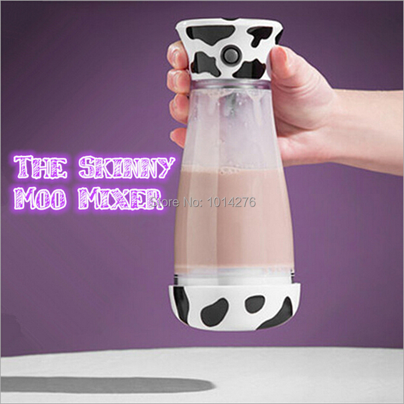 Free Shipping 14Oz The Skinny Moo Mixer Battery Chocolate Milk Mixer Cup Automatic Cow Coffee Mug Mixer Protein Shaker Blender