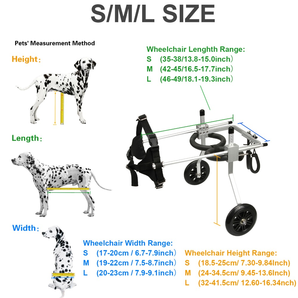 Adjustable Dog Cart 2 Wheels Chair Pet Mobility Dog Wheelchair for Handicapped Pet Dog S M