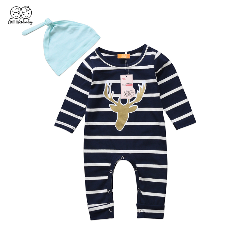 Casual Baby Striped Romper+Hat Christmas Clothing Infant Kid Boy Girl Long Sleeve Romper New Years Deer Jumpsuit Baby Clothing