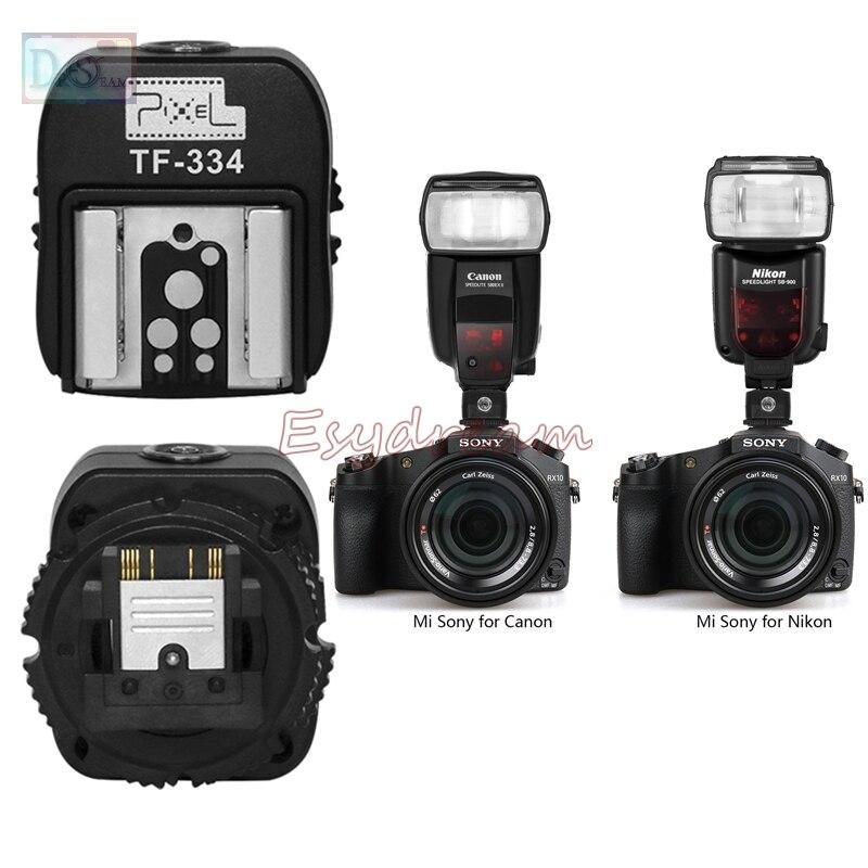 Pixel TF-334 Hot Shoe Adapter for Nikon Canon Flash and Sony New Multi-Interface Camera A7 NEX6 A6300 A6000 A3000 A99 A77II jjc camera hot shoe cover black white protector cap for sony a7iii a77ii a3000 a6000 a6300 a6500 a99 ii a7 replace sony fa shc1m