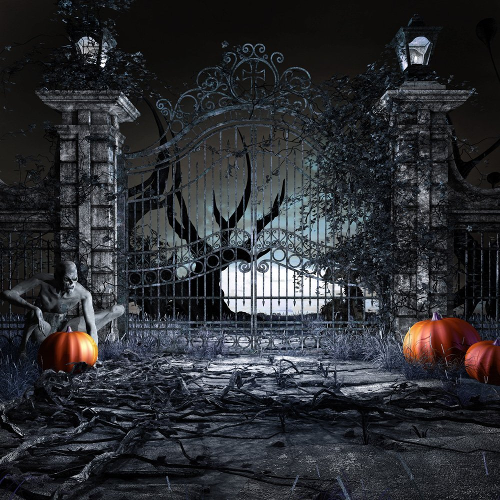 Image 2 - DePhoto Photography Backdrops Scary Halloween Background Pumpkin Door Zombie Night Background Photographic Studio Background-in Background from Consumer Electronics