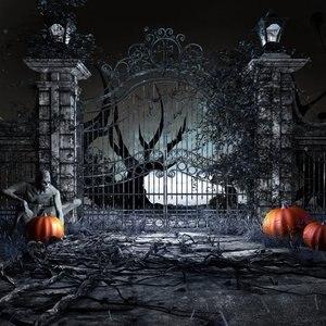 Image 2 - DePhoto Photography Backdrops Scary Halloween Background Pumpkin Door Zombie Night Background Photographic Studio Background