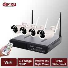 960P 1.3MP 4CH WiFi Wireless 1000GB NVR Security Camera Kit Waterproof Infrared P2P IP Camera Video Surveillance Kit