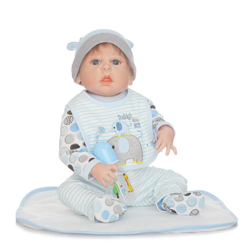 23inch full silicone body reborn baby boy dolls soft silicone vinyl real gentle touch bebe newborn real baby Gift for collection 23 russian silicone reborn baby girl full body vinyl dolls touch real baby dolls lifelike real hair new 2017 kids playmates