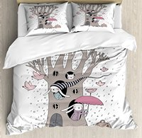 Tree Duvet Cover Set Bunny Family Living Inside the Hollows of a Tree Rainy Weather Flying Pink Birds Decor Bedding Set White