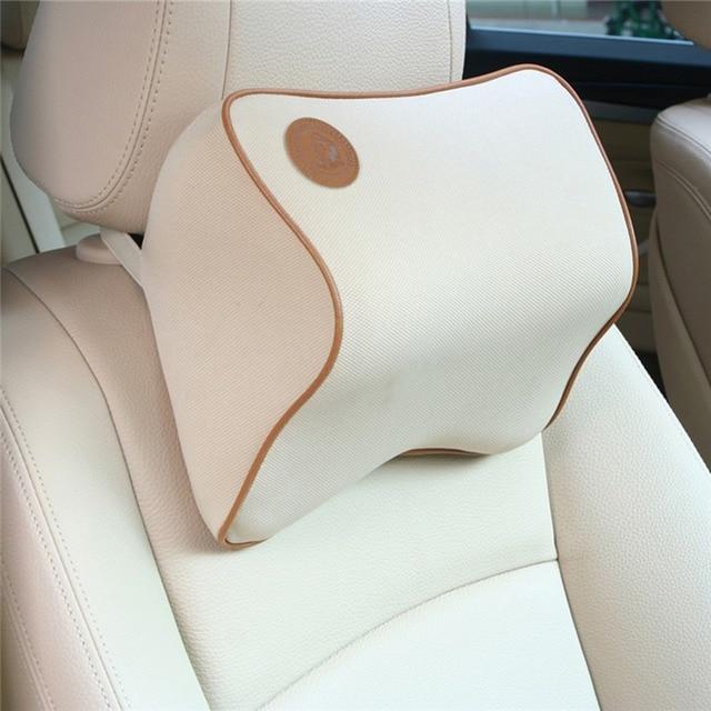 1 PCS Car Pillow Space Memory Fabric Neck Headrest Car Covers Vehienlar Plaid Bone Pillow Car Seat Cover Headrest Neck Pillow