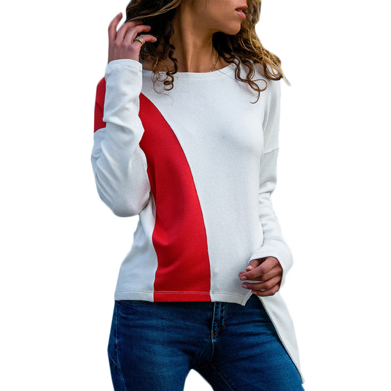 Women Sweaters And Pullovers New Patchwork 2019 Sleeve Top Casual Cotton Autumn Winter Clothes Irregular Hem Sweaters Blusas