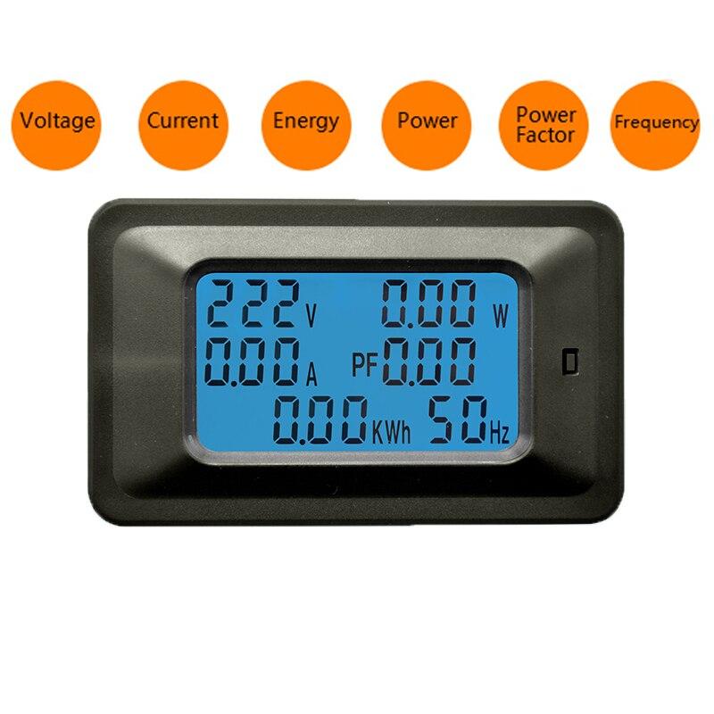 6 en 1 AC 20A 100A Numérique Voltmètre Ampèremètre Énergie Puissance Power Meter Fréquence Facteur Actuel Panel Détecteur 110 V 220 V LCD Bleu