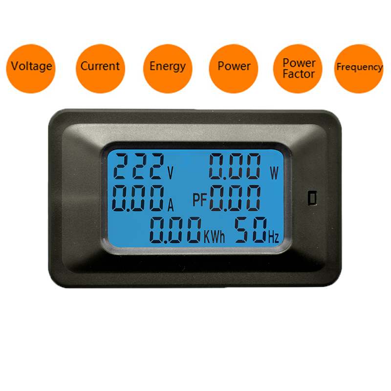 6 in 1 AC 20A 100A Digital Voltmeter Ammeter Energy Power Meter Power Frequency Factor Current Panel Detector 110V 220V LCD Blue