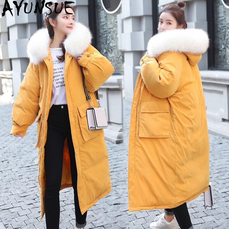 AYUNSUE parki Mujer 2019 długa kurtka zimowa kobiety płaszcz koreański Parka futro kołnierz duży rozmiar ciepłe wyściełane kurtki damskie KJ2471 w Parki od Odzież damska na  Grupa 1
