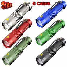 6 Colors Mini LED Flashlight Black Q5 2000LM Waterproof LED Laterna 3 Modes Zoomable PortableTorch penlight AA 14500 z88(China)