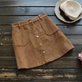 2017 Primavera Nueva Llegada de Las Mujeres de Moda Falda de Cintura Alta de Pana Skrit Busto Falda de Una Línea Rosa Gris Garantía de Calidad ZH115