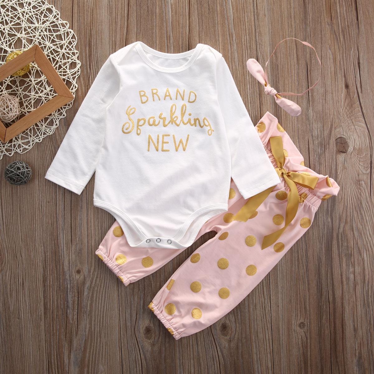 3pcs baby set !! toddle autumn baby girl autumn long sleeve letter baby bodysuit+long polka dot pants+headband baby clothes set