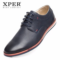2018 XPER Brand New Spring Autumn Men Casual Shoes Comfortable Business Walking shoes Men Leather Flats Lace Up Shoes #XAF86205