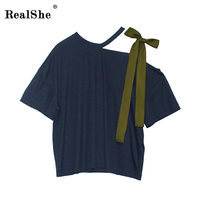 RealShe Fashion T Shirt Women 2018 New Short Sleeve Summer Top Off Shoulder Bow Tie Design