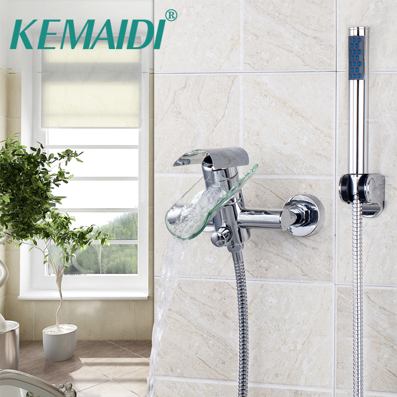 KEMAIDI Waterfall Glass Spout Bathtub Basin Mixer Tap Bathtub Faucet Contemporary Beautiful Ceramic Plate Spool Wall Mounted free shipping polished chrome finish new wall mounted waterfall bathroom bathtub handheld shower tap mixer faucet yt 5333