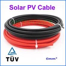 5 m 10 m 20 m mètres rouleau 6mm2 (10AWG) câble solaire rouge ou noir Pv câble fil cuivre conducteur XLPE veste TUV certificat