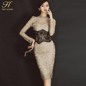 Image 2 - H 한 여왕 여성 우아한 섹시한 레이스 Bodycon Vestidos 2019 봄 빈 밖으로 연필 드레스를 통해 볼 패치 워크 슬림 시즈 드레스