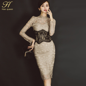 Image 2 - H Han Queen Women Elegant Sexy Lace Bodycon Vestidos 2019 Spring Hollow Out See Through Pencil Dress Patchwork Slim Sheath Dress
