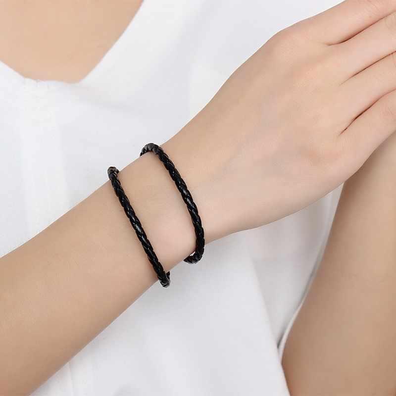 Vnox Vintage pulsera de cuero tejido negro Casual Wrap muñequera de doble cara