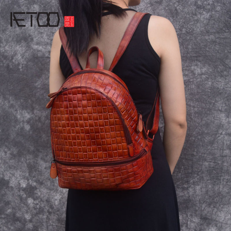AETOO Backpack female leather handmade retro woven female bag college casual simple art first layer leather bag female aetoo original new backpack female cowhide leather casual retro art wild female backpack female bag personality