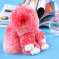Cute Rabbit Key Chain Keychain Double Color llaveros mujer Doll Real Fur Keychains Fluffy Fur Pom Pom Keychain Car Bag Key Ring