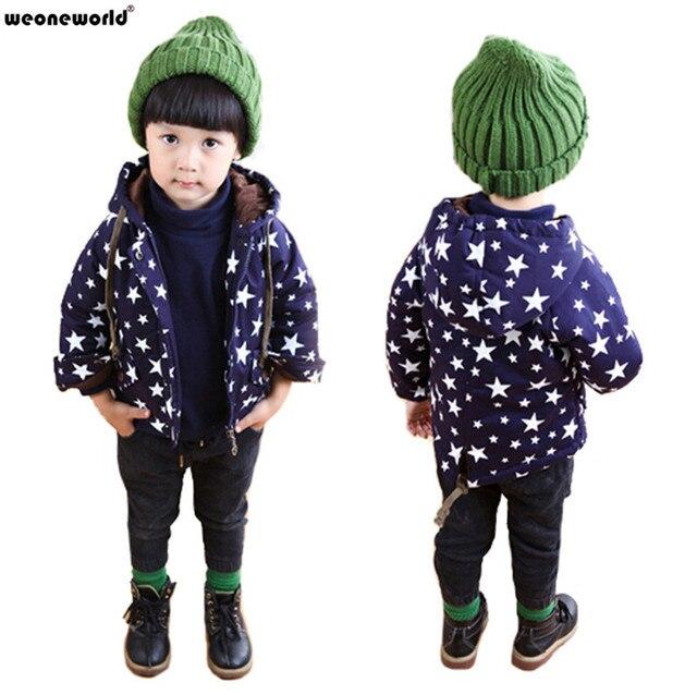 Weoneworld/Модная одежда для малышей, мальчиков и девочек куртка осень-зима пальто дети звезда шаблон толстовки пальто для мальчиков топы, верхняя одежда