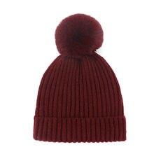 Winfox Casual negro rojo extraíble Pom invierno sombreros femeninos Otoño  de lana de punto gorros sombreros para la mujer Girl S.. 1fd89dd7088