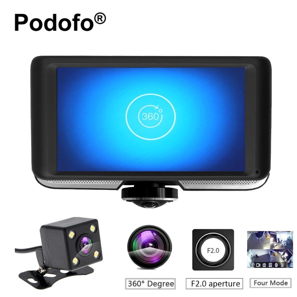 Podofo 360 Degree Panoramic Car DVR Camera Dual Lens with Rear View Registrar Cameras Full HD Video Recorder Car Camcorder