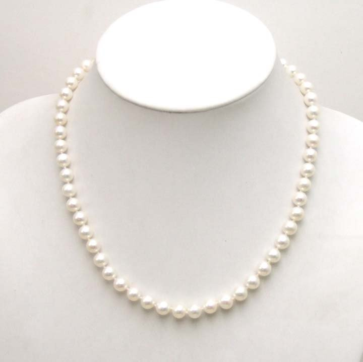 SALE AAA+ GRADE perfect round 7MM Freshwater PEARL 17 inch NECKLACE WITH Gold CLASP-5359 Wholesale/retail Free shipping