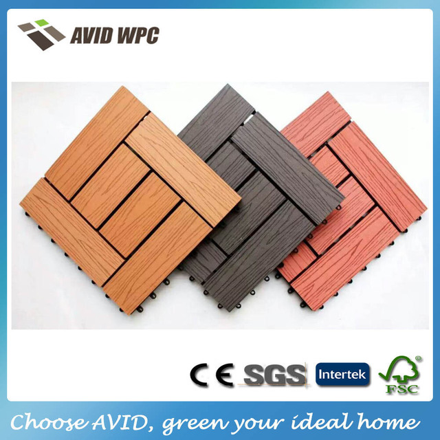 Easy Clean And Low Price Wpc Composite Wood Tiles Outdoor Decking For