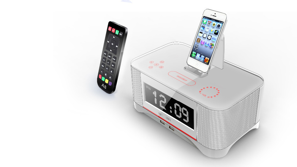 A8 Touch Radio Clock Speaker Remote Control for Apple iphone 5s 6 6s Bluetooth and NFC for Samsung xiaomi huawei Speaker
