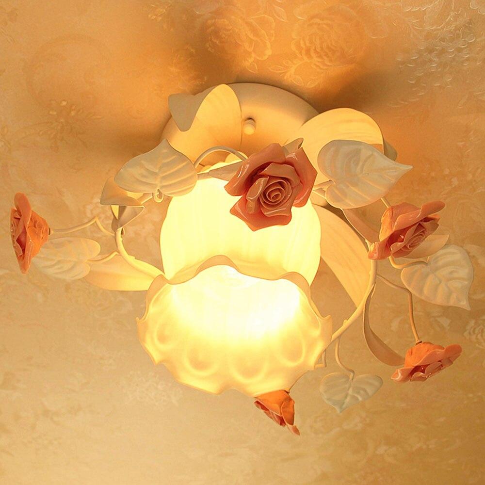 Modern Ceiling Lamps LED Lustre Luminaire Pink Flower Ceiling Light 220v Modern Led Ceiling Light for Bed Room Gardern Ceiling hghomeart modern led ceiling lamps round crystal lustre luminaire livingroom colorful night ceiling fixture light 110v 240v