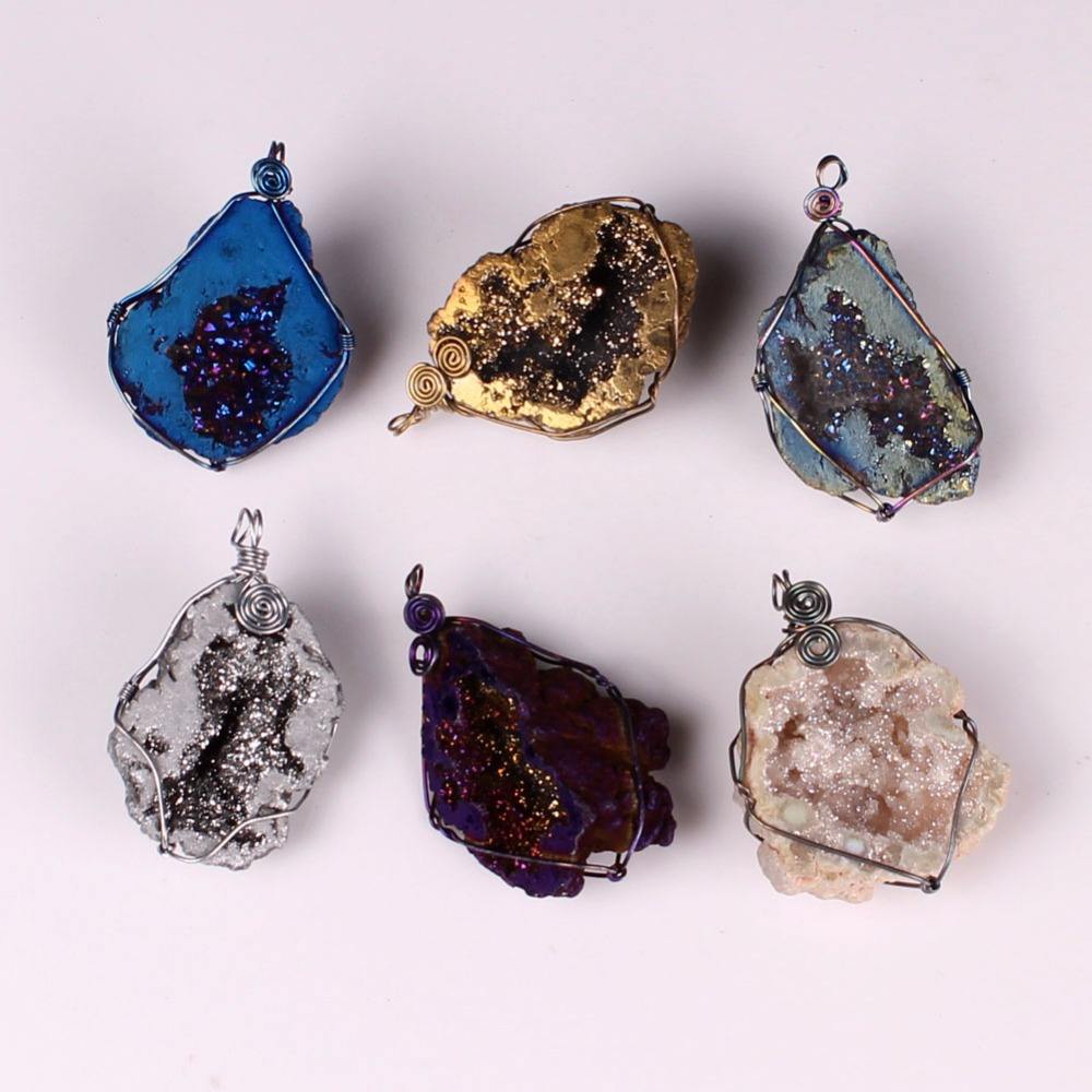 Top Selling Rainbow Lucky Wire Wrap Natural Mineral Geode Titanium ...