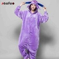Halloween Cartoon Pajama Funny Animal Adult Unisex Autumn Winter Flannel Long Sleeve Hooded Pajamas