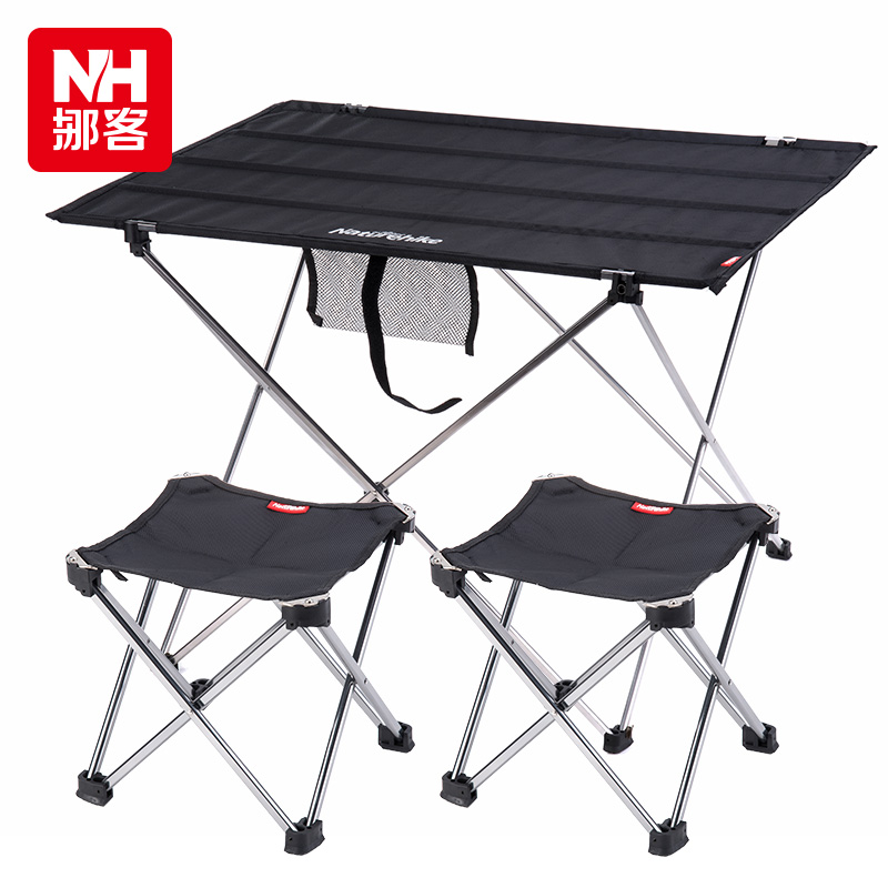 Outdoor portable folding tables and chairs bination of aluminum picnic tab