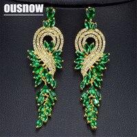 Design exclusif De Haute qualité Maxi or couleur Femmes Long Boucle D'oreille Colorée 4 Couleurs de Swarovski Bijoux de mode Femme bijoux