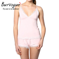 Burvogue Pajama Sets Women Sexy Cotton Cami And Shorts Set Pajamas Lace Trim Modal Nighties Sleeveless