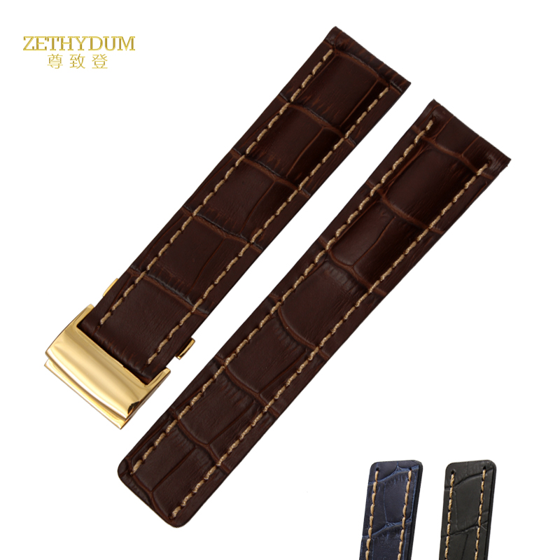 Genuine leather bracelet thick watchband 22 24mmm watch strap mens wristwatches band accessories blue watch belt fold buckle цена
