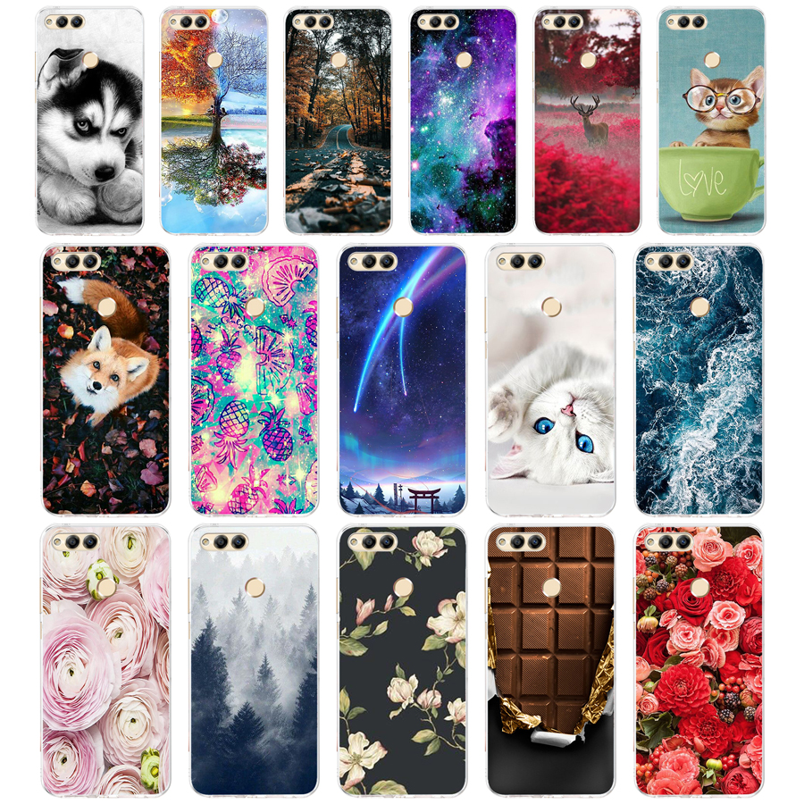 """B Soft TPU Honor 7X Case Cover Drawing Painted 5.93"""" Huawei Honor 7X Case Phone Back Protective Silicone Case Honor 7"""