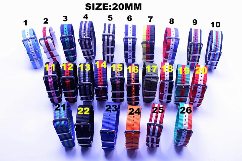 Prix pour Gros 10 pcs/lote haute qualité 20 MM Nylon bande de montre otan montre étanche sangle mode colorée wach bande - bracelet NATO nouvelle