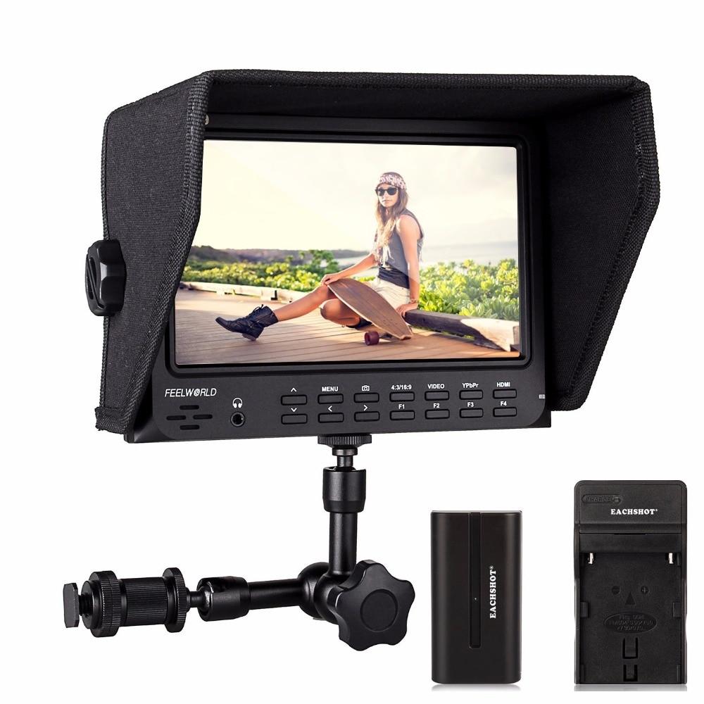Feelworld FW-709 7 Inches IPS HD screen Camera Monitor 1024x600 Support GH4,A7RII,7D,D800,C100,C300,FS7 Camera+Magic Arm+Battery free shipping feelworld fpv101a hd 10 1024x600 fpv video monitor screen for camera drone dji