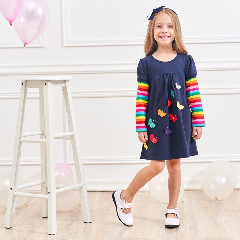 HTB156cndlGw3KVjSZFwq6zQ2FXaq VIKITA Girls Cotton Dress Long Sleeve Children Patchwork Vestidos Kid Dresses for Girls Clothes Toddlers Cartoon Princess Dress